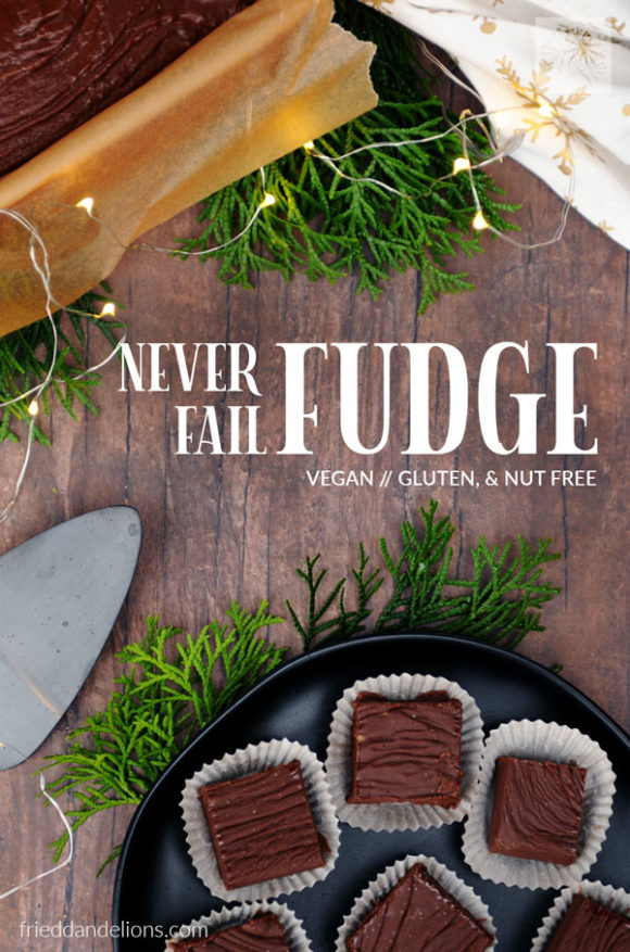 overhead shot of vegan never fail fudge on brown wood table with greens, christmas lights, and text overlay