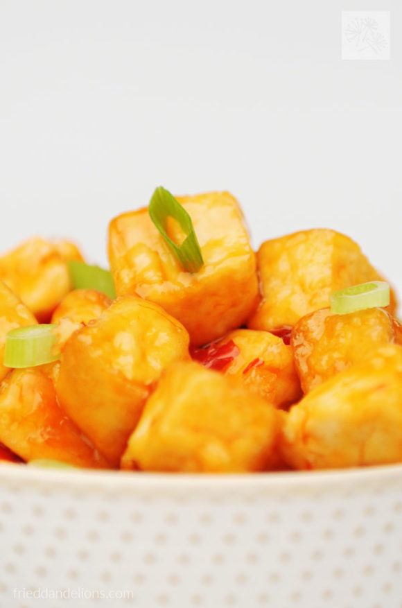 close up of bowl of sweet chili tofu with white background
