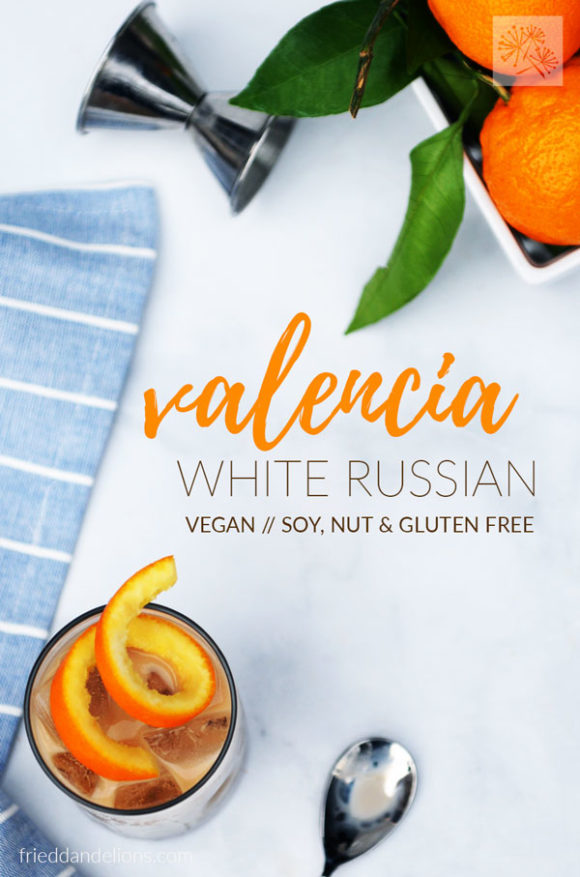 overhead shot of vegan white Russian with text overlay