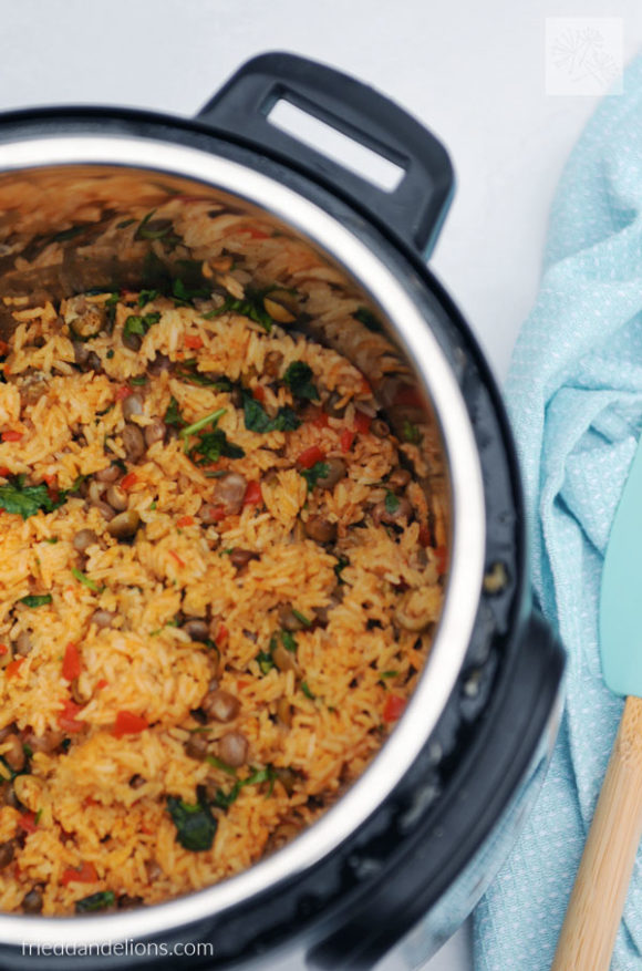 instant pot full of arroz con gandules