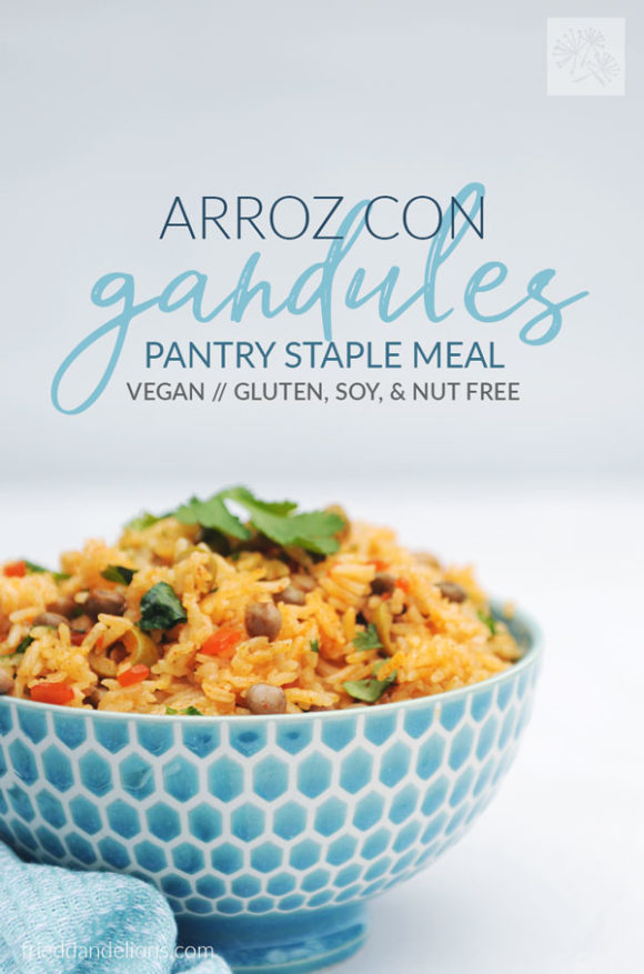 blue bowl of arroz con gandules with text overlay