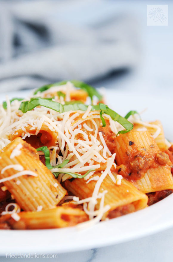 bowl of rigatoni pasta with lentils and parmesan sprinkles
