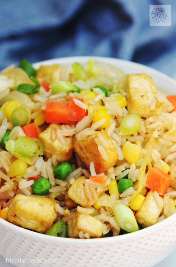 close up of bowl of Vegan Cabbage Fried Rice