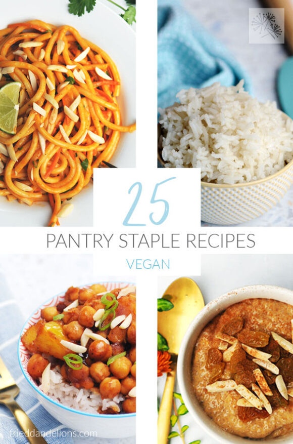 collage of Easy Vegan Pantry Staple Recipes with text overlay