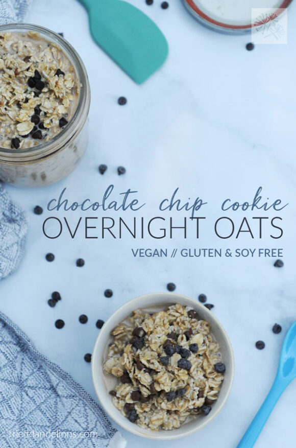 overhead view of chocolate chip cookies overnight oats with text overlay