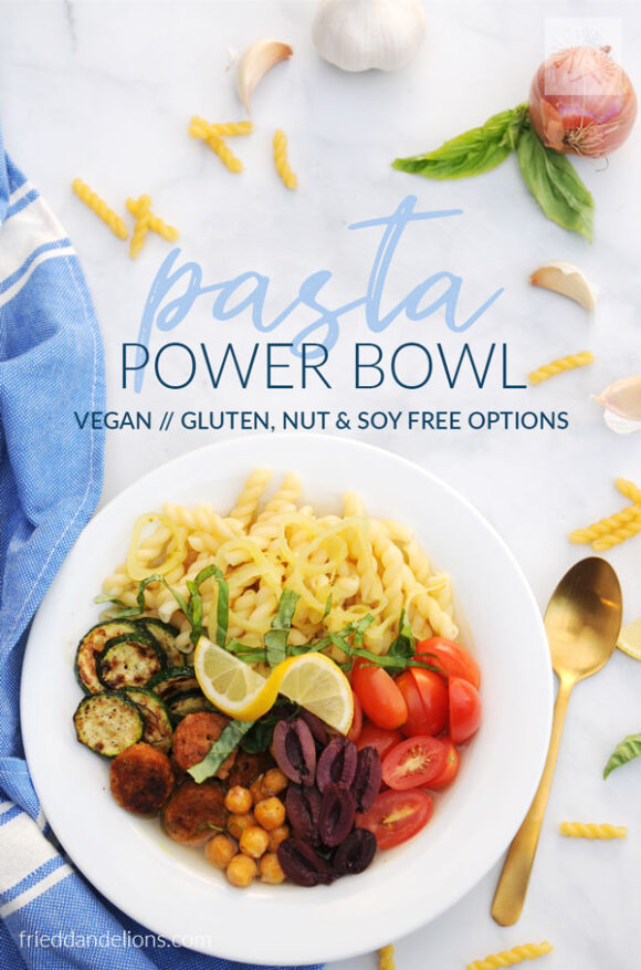 overhead view of pasta power bowl with text overlay