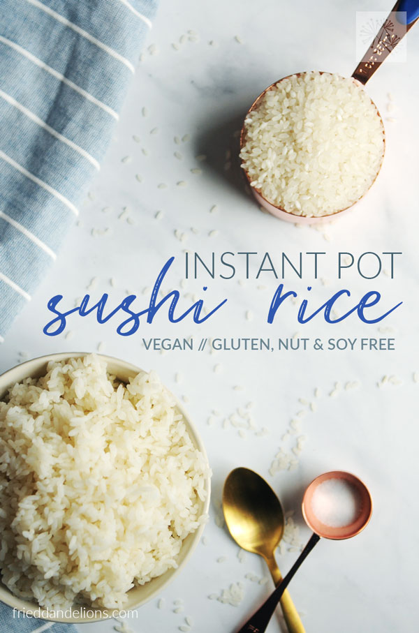 bowl of Instant Pot Sushi Rice with measuring cup of dry rice in background and text overlay